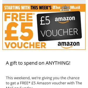 FREE £5 Amazon voucher over the next 3weeks with codes from the Mail on Sunday