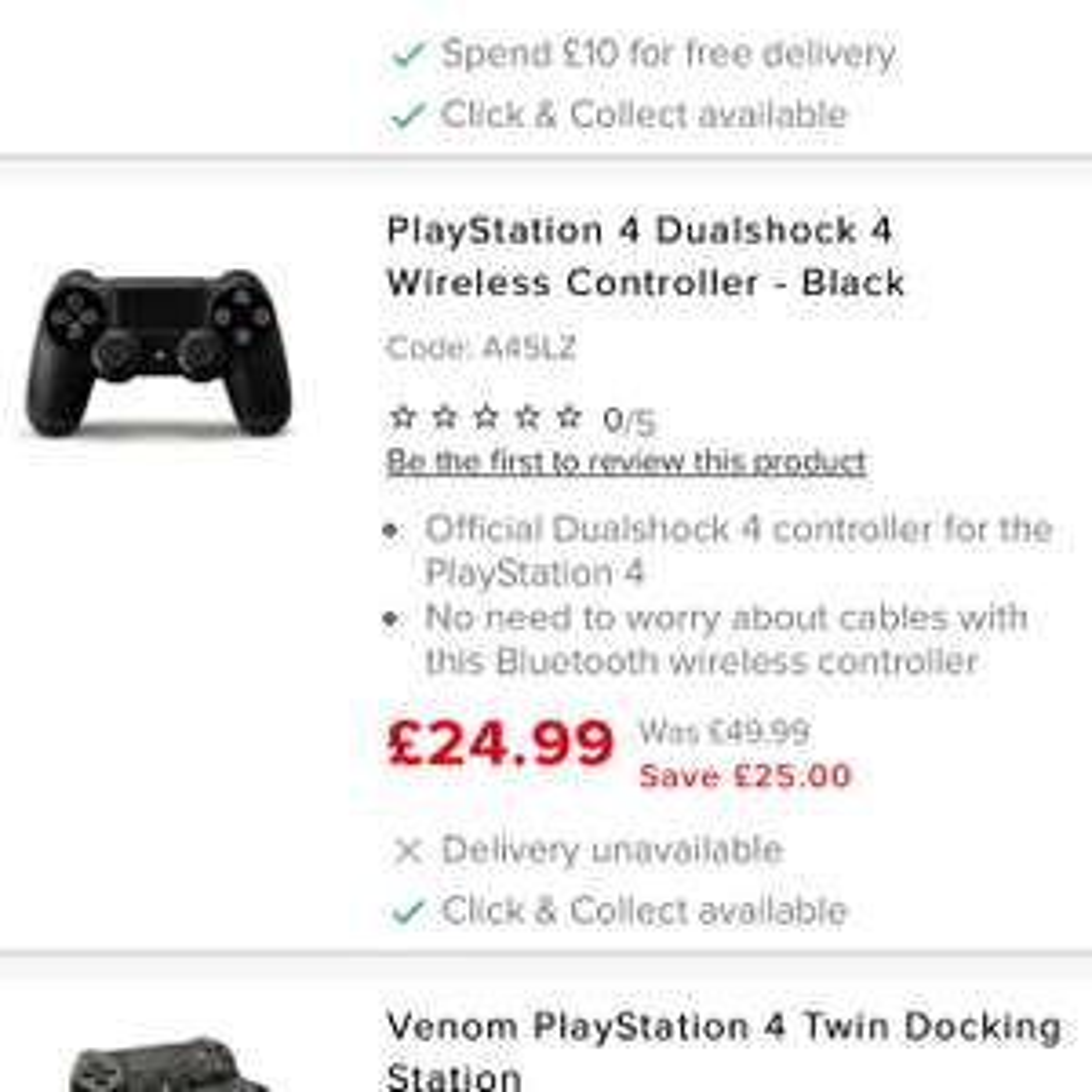 PS4 controller (Black) £24.99 @ Maplin
