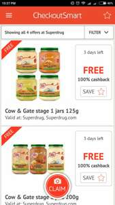 Cow & Gate Stage 1-3 free at Superdrugs