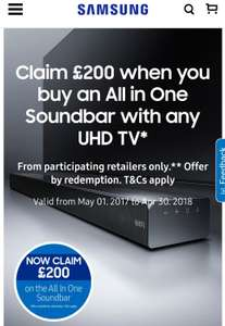 Claim £200 when you buy an All in One Soundbar or £100 when you buy a Samsung Ultra HD Blu-ray Player with any UHD TV from selected retailers via Samsung