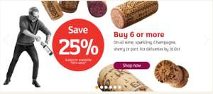 25% off when you buy 6 or more bottles of Wine/Champagne - works on top of offers @ Sainsbury's (25/10 to 31/10)