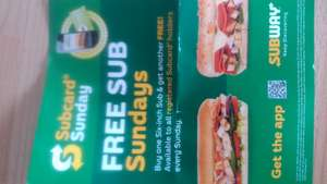 Subway - buy one 6in sub get one free on sundays untill 30/11/2017