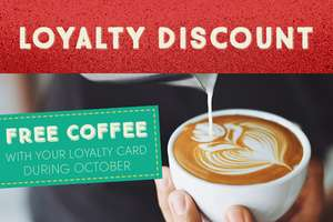Free coffee (any) every day until 31 October at La Tasca with their free loyalty card