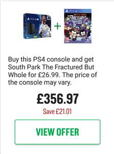 PS4 Pro Black 1TB with FIFA 18& South Park: The Fractured But Whole£356.97 @ Argos