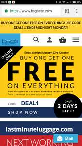 Buy one get one free on everything with voucher code DEAL1 @bagsetc.com