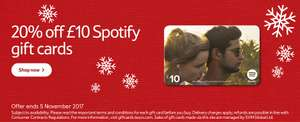 20% off £10 Spotify Gift  Card = £8 @ Tesco (online and instore)