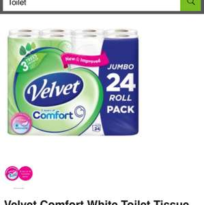 Pack of 24 Velvet comfort white toilet tissue £8 instore / online @ Asda groceries