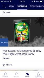 O2 priority free Rowntree random spooky mix. Whsmith high street stores