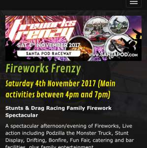 Santa pod firework frenzy £20 per car entry fee