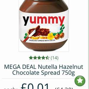 NUTELLA 750G 1P! BB JAN 18 (£5.99 box delivery/£22.50 minimum order) at Approved Foods