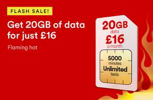 Virgin Mobile Sim Deal - 20gb Data, 5000 Mins & Unlimited Texts For £16.00 pm (12 month - £192)