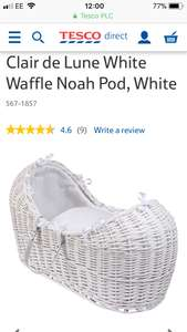 Clair de Lune White Waffle Noah Pod, White Free C&C at Tesco for £59.50