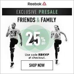 Heads up - Upto 50% off + Extra 25% Friends and Family Pre Sale  @ Reebok (from midnight)