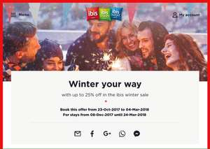 Ibis Hotels Winter Sale: up to 25% off, extra 5% off for members