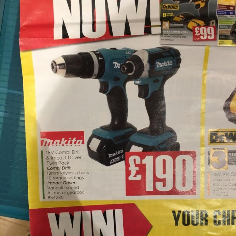 Makita 18v twin set £228 @ TradePoint