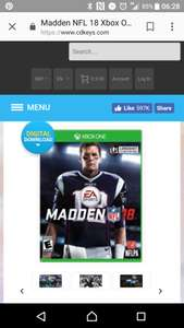 Madden NFL 18 Xbox One download £28.99 @ CDKeys