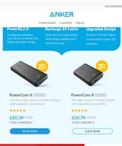 Anker PowerCore II 20000, High Capacity Portable Charger with Dual USB Ports, Upgraded PowerIQ 2.0 (up to 18W Output) at Amazon for £30.39