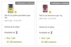 Tate And Lyle Demerara Sugar Fair Trade & Golden Granulated Fairtrade Sugar 1Kg 50p each after cashback @ Tesco