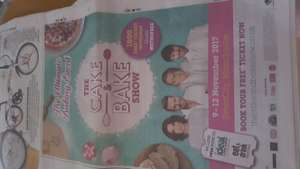 1000 Free ticket give away for The Cake and Bake show at Eventcity, Manchester 9-12th Nov 17 ( also includes free entry to ideal home show).