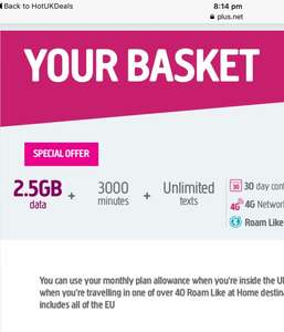 Plusnet 2.5gb data unlimited texts and 3000 mins for £7pm - 30 day rolling contract
