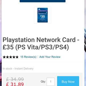 £35 PlayStation PSN credit for £31.89 or £30.30 using Facebook 5% off code for liking page. @ CDKeys