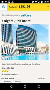 ITS BACK! From Manchester: Christmas School Holidays for some, 1 Week Half Board to Benidorm £148pp @ Thomas Cook