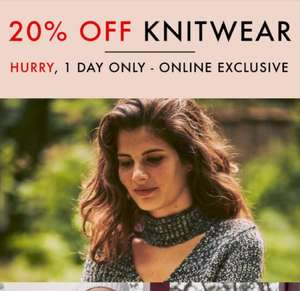 20% off knitwear online today only at Matalan