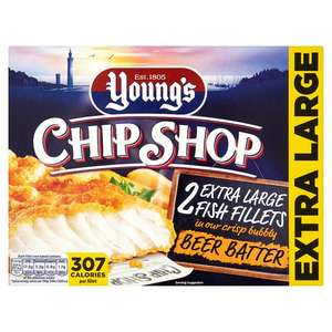 Youngs 2 Extra Large Beer Battered Fish Fillets 320G only £1 in farmfoods