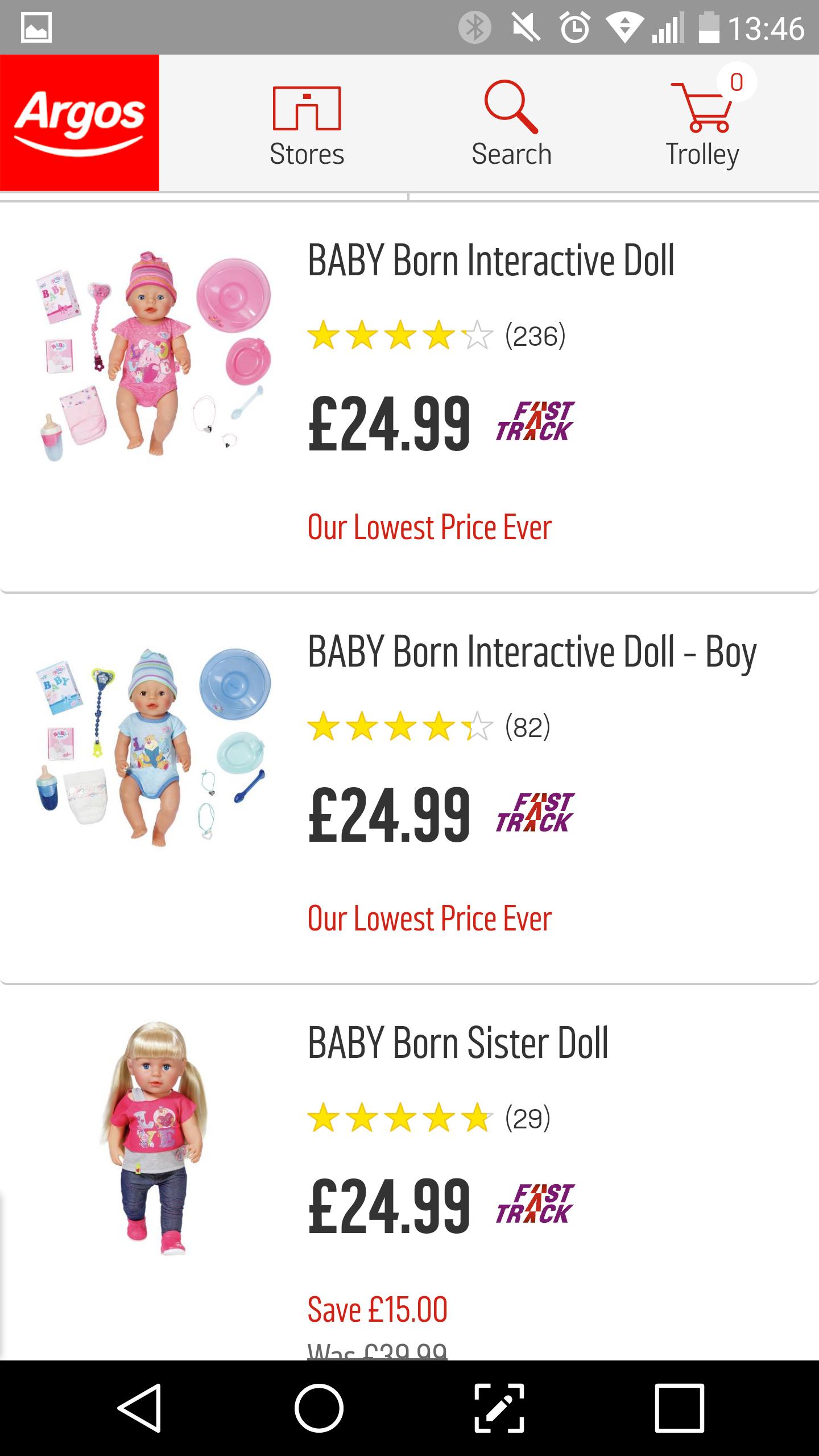 Baby born dolls £24.99 each at Argos