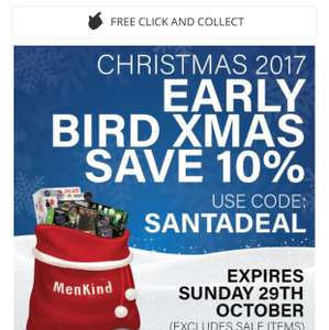 Save 10% plus Free click and collect at men kind using code SANTADEAL