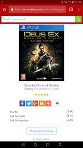 Deus Ex: Mankind Divided - PS4 - Preowned - £5 - In Store @ CEX