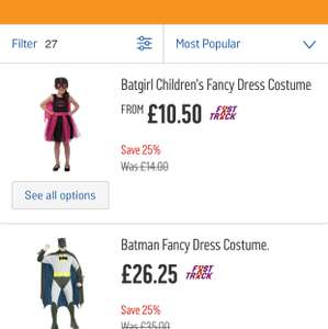 25% off all Halloween adults and kids dress up @ argos