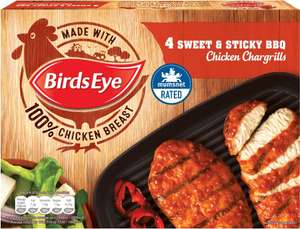 Birds Eye Sticky & Sweet BBQ Chicken Chargrills (4 per pack - 348g) was £2.75 now 3 packs for £5.00 @ Tesco