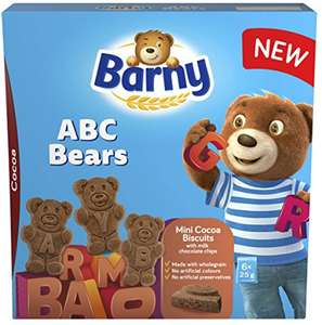Barny ABC Bears Vanilla Choc Chips Biscuits / Cocoa Choc Chips Biscuits (6 x 25g) was £1.67 now 75p @ Morrisons