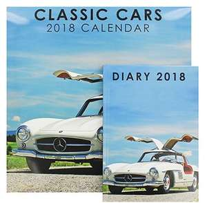 Classic Cars/Wonderful World 2018 Calendar and Diary Set Was £12 Now £1.50 @ TheWorks - Free c&c
