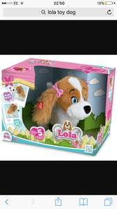 Lola the interactive dog found in b&m tees bay £6.99, (selling in Argos £27.99)