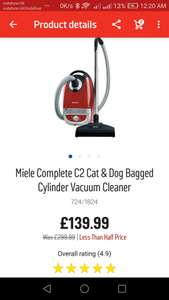 One of the lowest price for Miele Complete C2 Cat & Dog Bagged Cylinder Vacuum Cleaner £139.99 in argos
