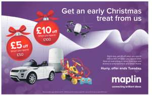 £5 off when you spend £50 - £10 off when you spend £100 @ Maplin instore (inc online c+c and pay instore)