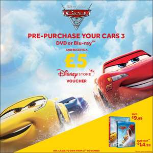 Pre-Order Cars 3 on DVD (£9.99 instore or + £1 for Home Del) or Blu-Ray (£14.99 instore + £1 Del) and Receive a £5 Disney Store Voucher online / instore @ Disney Store