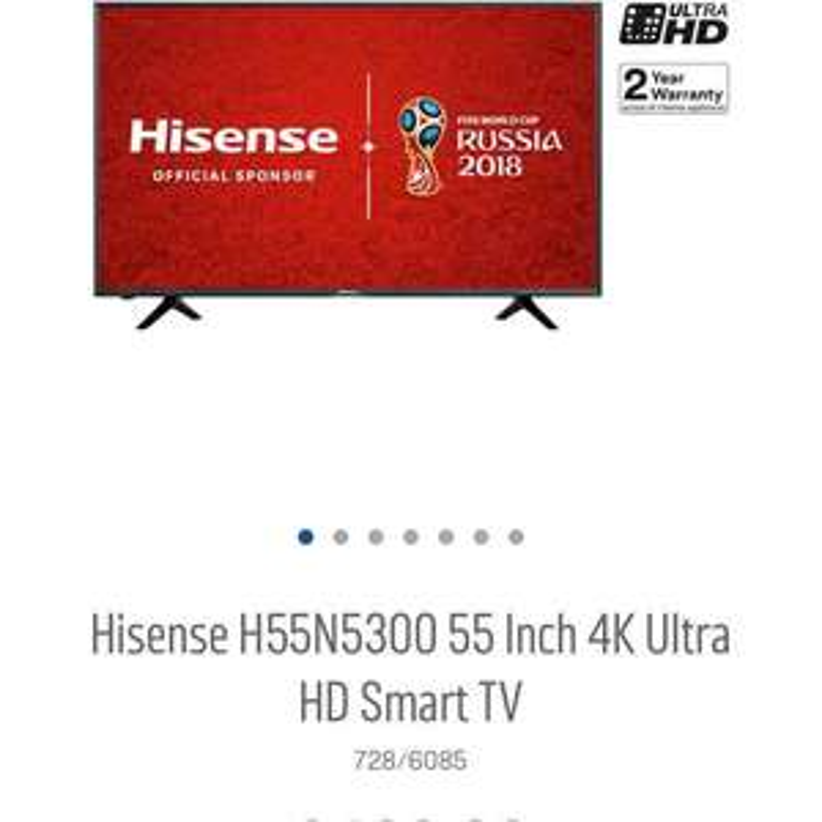 "hisense H55N5300  4K 55"" led ultra hd smart tv - £449.10 with code at Argos"
