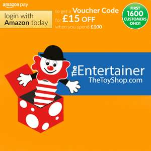 Get £15 off a £100 spend when you use Amazon Pay @ The Entertainer