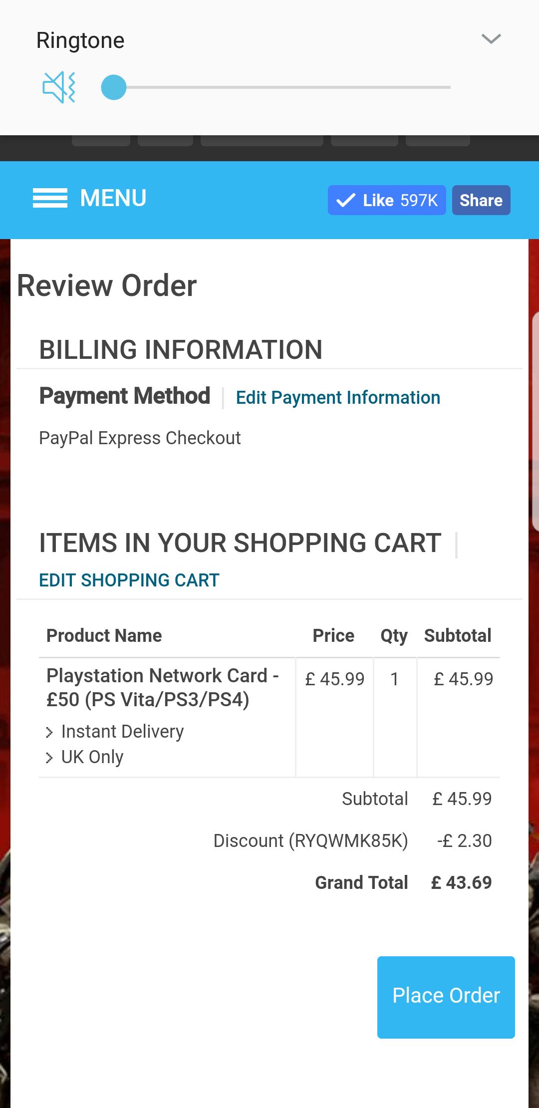 £50 PSN credit for £43.69 at CDKeys