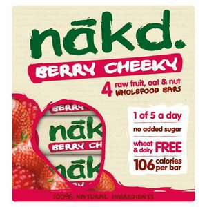 Nakd Berry Cheeky Bars 4 x 30g 100% natural Vegan bars - £1 @ Morrisons