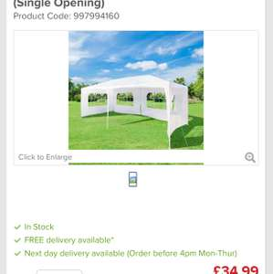 Gazebo Party Tent - 6 x 3mtr (Single Opening) £34.99 @ euro car parts FREE delivery