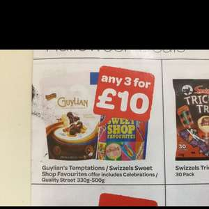 GUyilans temptations/celebrations/swizzle sweets shop/quality street any 3 for £10 SPAR in store