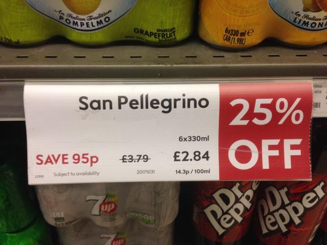 San Pellegrino £2.84 per 6-pack at Waitrose instore