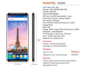 """OUKITEL K5000 5.7"""" HD Screen Octa-core Android 7.0 4G Phone with 4GB RAM 64GB ROM Black or Gold £103.16 with code @ Volumerate"""