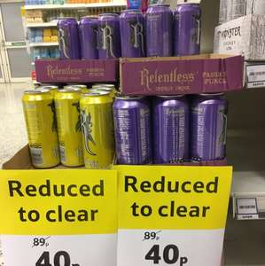 Relentless passion punch/ lemon energy drinks 40p @ Tesco Stockton on tees
