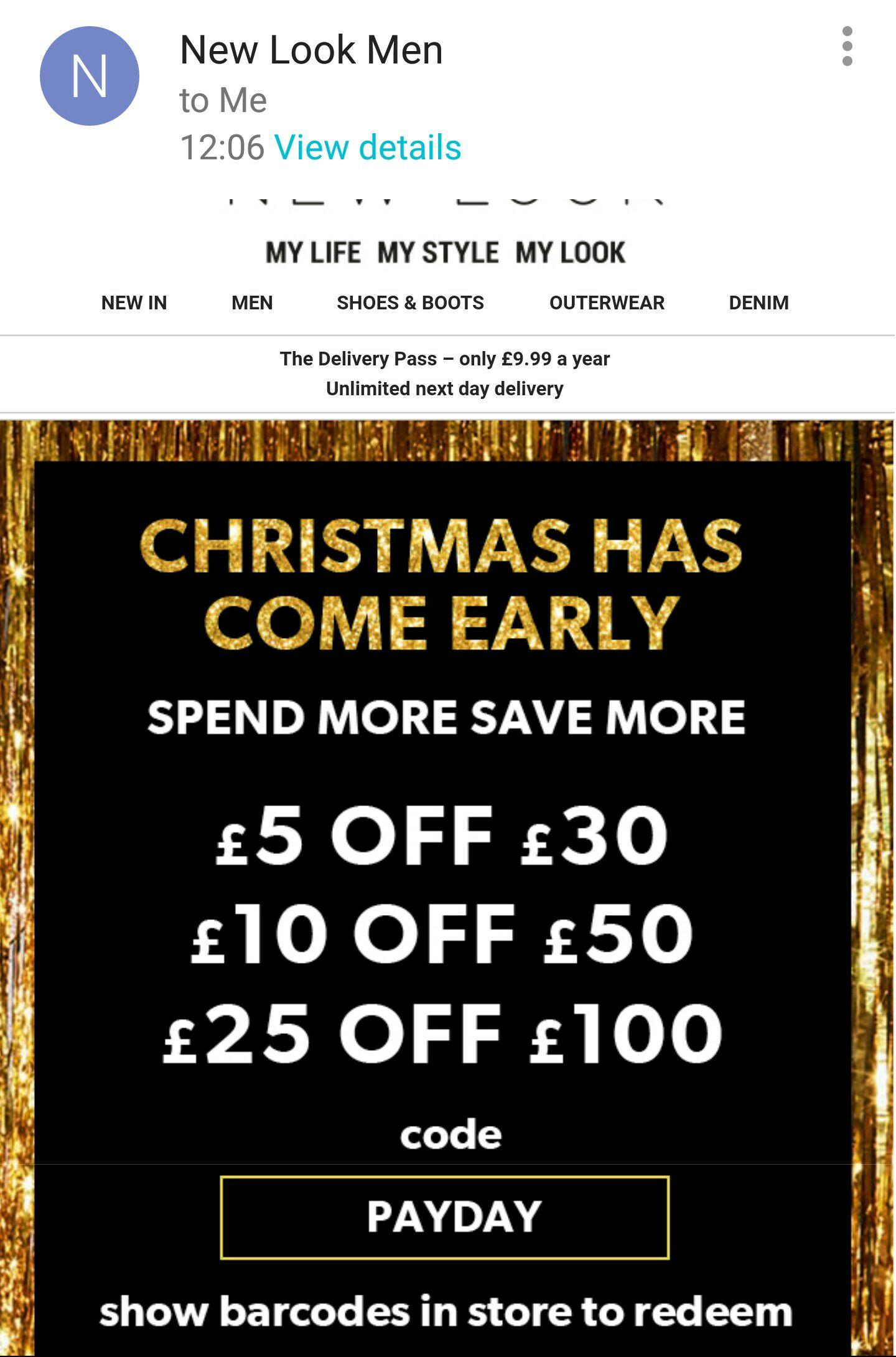 New Look Man Voucher - £5 off £30 -  £10 off £50 - £25 off £100