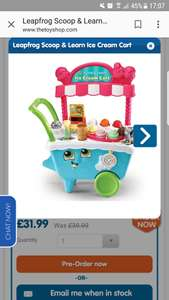 Leap frog ice cream stand £31.99 @ The entertainer (Pre order)
